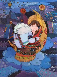 Natalia Kuriy I Believe In Angels, Ukrainian Art, Happy Paintings, Naive Art, People Art, Book Illustration, Ua, Cool Drawings, Folk Art