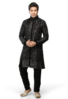 Buy Black Satin Jacquard Readymade Sherwani online, work: Woven, color: Black, usage: Wedding, category: Mens Wear, fabric: Satin, price: $180.50, item code: MPC542, gender: women, brand: Utsav