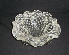 Vintage Murano Glass Flower Bowl Ashtray Controlled Bubbles in Smoke Web | eBay