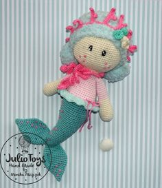 Marina Mermaid crochet pattern by Julio Toys  https://www.etsy.com/listing/288054063/marina-mermaid-pdf-pattern?ref=shop_home_active_2
