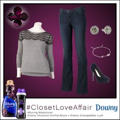 This Alluring Adventurer look was inspired by Downy Infusions Orchid Allure and Downy Unstopables Lush. This intricate lace sweater and velvet pumps transform these casual basics into adventurous fun.  To shop this look, visit the LC Lauren Conrad collection available only at Kohl's. To register for the #ClosetLoveAffair sweepstakes visit downy.promo.epriz....