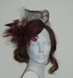 Red wine pillbox hat for weddings, Ascot, Derby, festive occasions- Made to order item! on Etsy, 1 191:29 kr