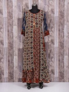 Maroon cotton printed long kurti - G3-WKU1209 | G3fashion.com