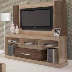 Rack com Painel para TV Opala Candian Canela/Onix - JCM Movelaria Decor, Tv Wall, Modern Tv Wall Units, Living Room Modern, Tv Stand Decor, Home Decor, House Interior, Living Room Designs, Living Room Tv