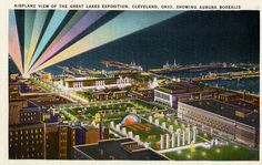 Airplane view of the Great Lakes Exposition, Cleveland, Ohio, 1936, showing Aurora Borealis