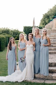 Grey blue bridesmaid gowns | Image by M and J Photography