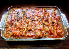 Eggplant Stew (Khoresht Bademjan)     Any dish with the combination of eggplants and tomatoes is just divine. If you happen to love eggplants and tomatoes this stew has them both, in addition to meat, split peas and sour grapes (ghooreh), which can be found in most Iranian grocery stores. This is a rich, flavorful food and one of the favorites among many Iranians.