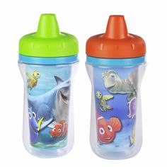 Add some adventure to mealtime! These colorful sippy cups featuring your favorite Disney friends are just the right companions for your thirsty little character. Each cup features a spill-proof valve that's built into the lid, so clean up won't be a bother. The cup walls come complete with double insulation that keeps drinks cool for longer, and the sweat-proof surface makes the cup easy for your child to grip. Product is BPA free.