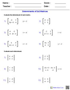 Worksheets Matrices Worksheets matrices worksheets algebra 2 math aids com these generators allow you to produce unlimited numbers of dynamically created worksheets