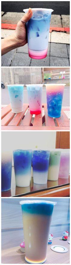 Taiwan Thai like tea signs butterfly bean flowers milk tea super dream baby blue color so good to taste.