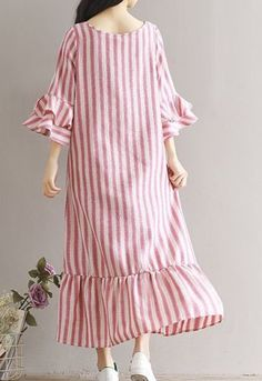 185ea728ff8d9 Women loose fitting over plus size stripes dress long maxi tunic robe casual