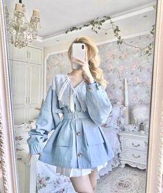 Kawaii Fashion, Lolita Fashion, Emo Fashion, Pastel Outfit, Kawaii Clothes, Lolita Dress, Blue Lace, Aesthetic Clothes, Cool Outfits