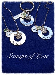 Grief necklaces and key chain www.stampsoflove.com