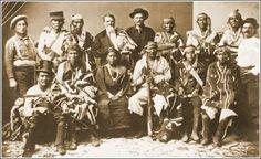 Navajo Delegation to Washington, D. C. in 1874    Standing L-R: Wild Hank Sharp, Ganado Mucho, Barbas Hueros, Agent Arny, Kentucky Mountain Bill, Cabra Negra, Cayatanita, Narbona Primero, Jesus Arviso (Interpreter) - Sitting L-R: Carnero Mucho, Mariano, Juanita Pal ti-to (Manuelito's wife), Manuelito, Manuelito Segundo, Tiene-su-se – 1874.