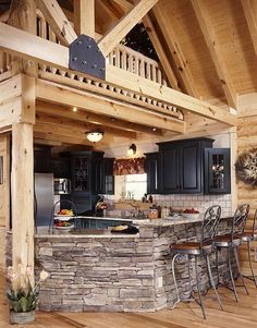 I would stain the wood, have different cabinets and a backsplash that matched everything. Otherwise, this is awesome