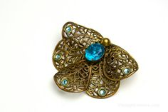 Vintage Filigree Moth Dress Clip with Blue Glass Rhinestones - a perfect Bohemian 'something blue'! Brought to you by VintageCravens