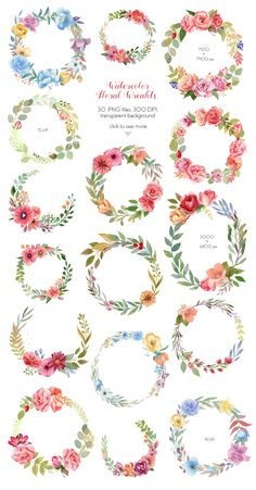 Buy Watercolor Wreaths Collection (Set) by Astaru on GraphicRiver. Watercolor wreaths and frames collection (set) Roses, peonies, green leaves, brunches, berries and more in 30 wreath. Watercolor Flower Wreath, Floral Watercolor, Flower Art, Flower Mandala, Watercolor Design, Art Flowers, Watercolor Illustration, Art Floral, Watercolor Cards