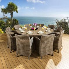 Rattan Garden Dining Set Round Table 10 Large Carver Chairs Mocha for sale online Round Outdoor Dining Table, Garden Dining Set, Outdoor Tables And Chairs, Large Round Table, Dining Sets, Rattan Garden Furniture, Furniture Dining Table, Outdoor Furniture Sets, Outdoor Decor