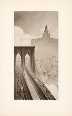 """Contemporary Babylon in pencil drawings - Plate [16]: """"The Frame of Central Park"""" (Modern cliff dwellings of midtown look out over Central Park.)"""