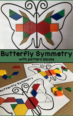 Butterfly symmetry sheets for preschool, pre-k, and kindergarten. Students will study the designs on the left hand sides of the butterflies, and work to replicate those designs on the right hand sides. Depending on your students' abilities, there are t Caterpillar Preschool, Preschool Garden, Preschool Art, Symmetry Activities, Kindergarten Activities, Preschool Activities, Math Art, Butterfly Crafts, Mellow Yellow