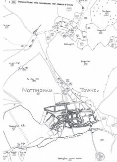 A modern drawing of the map of Sherwood Forest of 1609 Old Pictures, Old Photos, Nottingham Map, Modern Drawing, Sherwood Forest, Cartography, All Saints, Old And New, Past