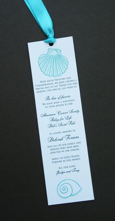 Seashell Favor Donation Bookmark by atouchofsunshine1 on Etsy, $1.00