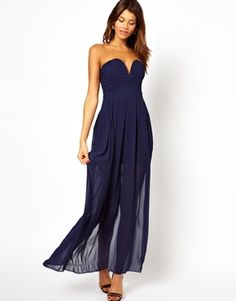 Image 1 of TFNC Maxi Dress With Plunge Bustier