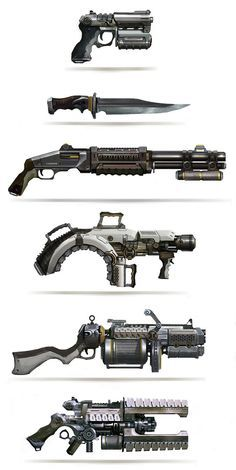 Leonid Enin Concept Art and Illustration weapons guns knife pistol rifle equipment gear magic item   Create your own roleplaying game material w/ RPG Bard: www.rpgbard.com   Writing inspiration for Dungeons and Dragons DND D&D Pathfinder PFRPG Warhammer 4