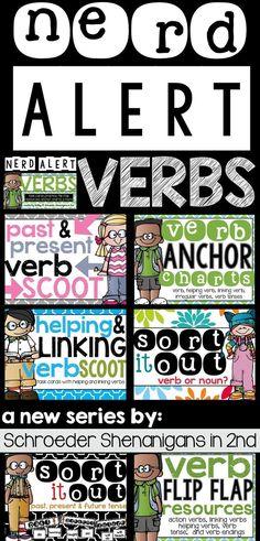 NERD ALERT VERBS pack full of verb practice for 2nd graders