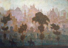 "bensozia: Petras Kalpokas, ""The Enchanted City"" Kandinsky, Art Plastique, Petra, Enchanted, Mythology, Concept Art, City, Painting, Landscapes"