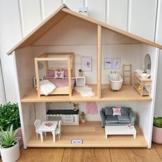 Modern dollhouse in scandi style with macrame wallhanging, four poster bed - IKEA