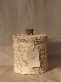 Tall Coiled Basket with Cork