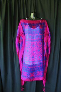 Hot Pink and Indigo Silk Kaftan :: molly10102010 Shop :: $59.00