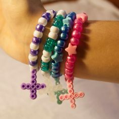 set of four kandi bracelets pastel goth perler by KandiMagick