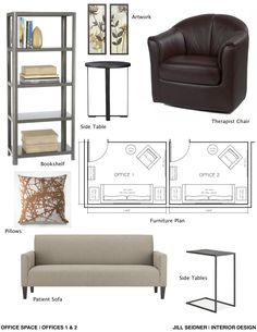 Concept board and furniture layout for therapist office.