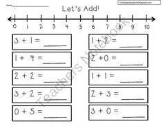 Number Line Addition Freebie product from Kindergarten-Pals on TeachersNotebook.com