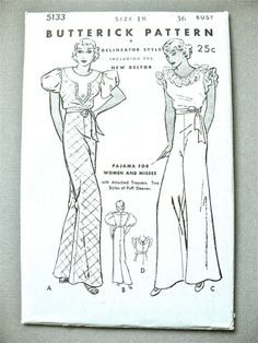 Unused 1930s Beach Pajamas Butterick 5133 Vintage Sewing Pattern Lounging Pajamas Lingerie   Bust 36 inches