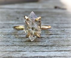 Diamond crystal point ring Herkimer Diamond Ring 14k by mossNstone