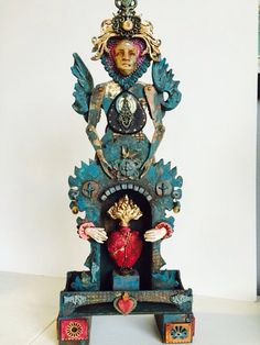 Large Santos Cage Doll Antiquities Shrine kit with Retro Cafe Art Gallery/ Telics and Artifacts with Sandra Evertson