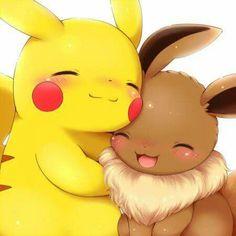 Two of my favorite pokemon, Eevee and pikachu Eevee Pokemon, Pikachu Pikachu, Pikachu Mignon, Pokemon Fan, Draw Pokemon, Cute Animal Drawings, Kawaii Drawings, Cute Drawings, Anime Chibi