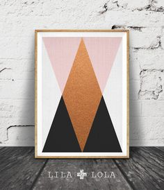 Geometric Wall Art, Copper Print, Pink Black Decor, Modern Minimalist, Printable…
