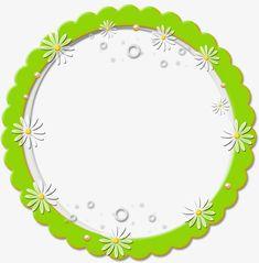 Ronda Marco Verde Con Flores Frontera Orla Circular Frame PNG Image And