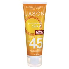 Shop the best Jason Pure Natural Sun Natural Sunscreen SPF 45 - Sport 4 oz Lotion products at Swanson Health Products. Trusted since we offer trusted quality and great value on Jason Pure Natural Sun Natural Sunscreen SPF 45 - Sport 4 oz Lotion products. Natural Sunscreen, Sunscreen Spf, Cosmetic Bottles, Good Manufacturing Practice, Broad Spectrum Sunscreen, Organic Recipes, Beauty Care, Lotion, Health And Beauty
