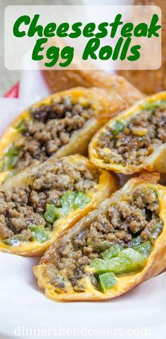 Philly Cheesesteak Egg Rolls - Dinner, then Dessert Cheesesteak Egg Rolls have all the flavors of the classic Philly Cheese Steak Sandwich in a crispy shell and made with ground beef! So easy to make and they taste. Beef Recipes For Dinner, Ground Beef Recipes, Cooking Recipes, Family Recipes, Cheesesteak Egg Rolls, Philly Cheese Steak Sandwich, Steak Sandwiches, Egg Roll Recipes, Game Recipes