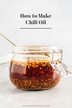 How to make chili oil (辣椒油) – video, recipe with step by step pictures on making Chinese chili oil from scratch. How to Make Chili Oil (辣椒油) Chinese Chili Oil, Chinese Food, Healthy Chinese, Chutneys, How To Make Chili, Making Chili, Sauce Recipes, Cooking Recipes, Cooking Games