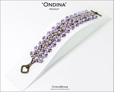 Bead pattern beaded bracelet Ondina made with seed beads, O beads, fire polished rounds, superduos and Swarovski elements O Beads, Seed Beads, Bracelet Patterns, Beading Patterns, Beaded Earrings, Beaded Bracelets, Colorful Bracelets, Bead Weaving, Round Beads