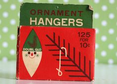 Vintage Ornament Hanger Hooks Small Box Doubl Glo