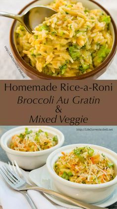 Homemade Rice-a-Roni — Broccoli Au Gratin and Mixed Veggie! from Life Currents Homemade Rice-a-Roni — Broccoli Au Gratin and Mixed Veggie! from Life Currents Ricearoni Recipes, Side Dish Recipes, Veggie Recipes, Pasta Recipes, Vegetarian Recipes, Dinner Recipes, Cooking Recipes, Healthy Recipes, Gourmet