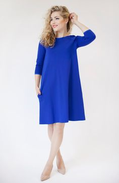 Royal blue midi dress long sleeve blue dress with by ADORIQUE