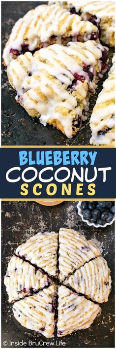 Blueberry Coconut Scones - these soft flakey scones have fresh juicy blueberries and coconut baked in them. Coconut glaze on top adds a delicious tropical taste. Make this recipe for breakfast or brunch this summer. #breakfast #scones #blueberry #coconut #pastries #homemade #recipe #easy